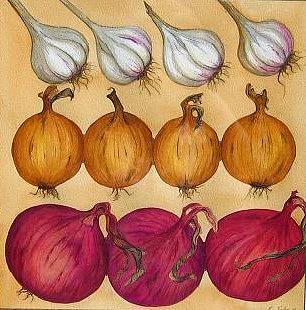 Food Painting - Onions And Garlic by Elizabeth H Tudor