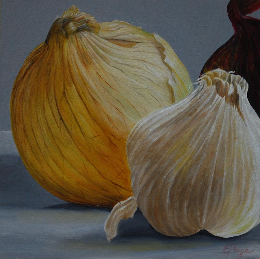 Realism Painting - Onions And Garlic by Emily Page