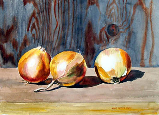 Still Life Painting - Onions In The Sun by Anne Trotter Hodge