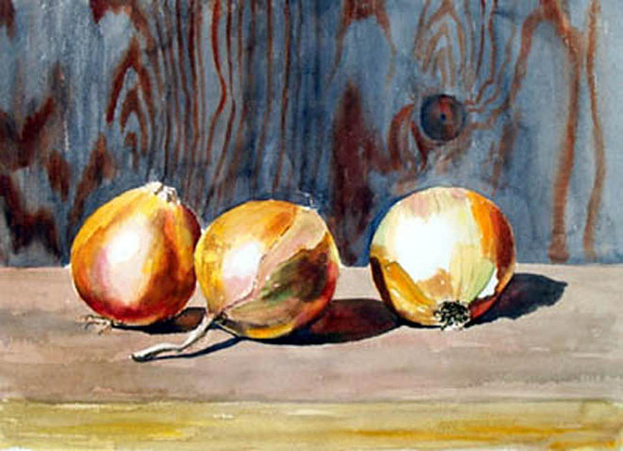 Still Life Print - Onions In The Sun by Anne Trotter Hodge