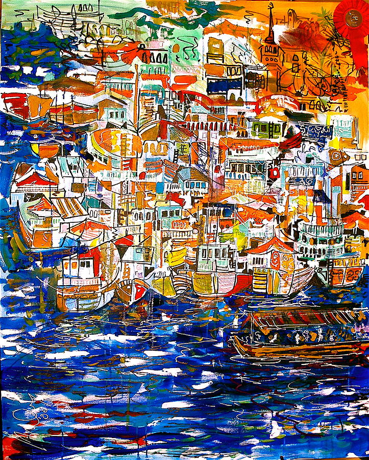Dubai Painting - Only An Abra Passing By by Mike Shepley DA Edin