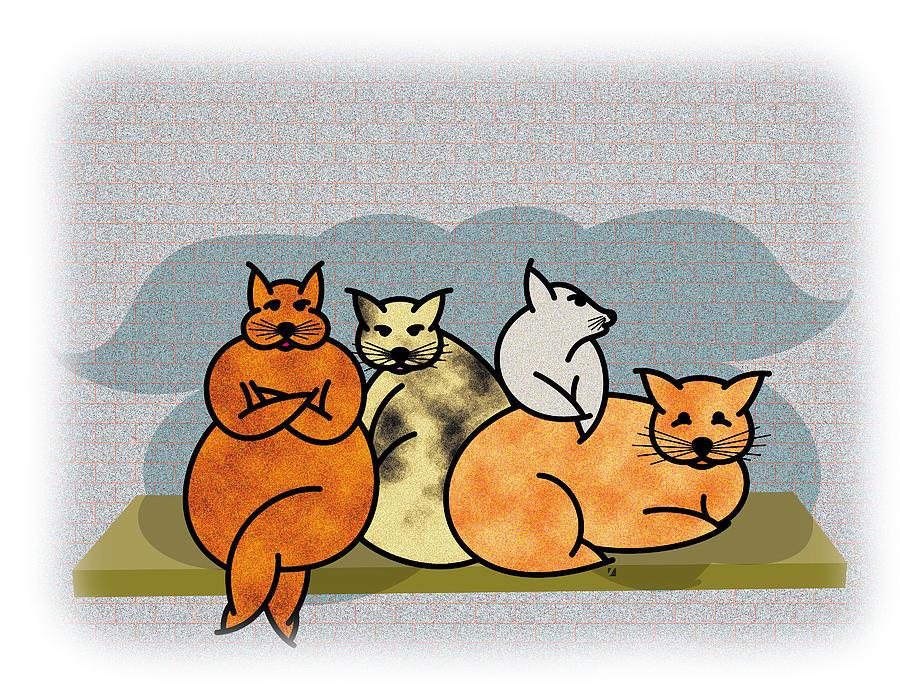 Cats Painting - Oops by Steve Ellis