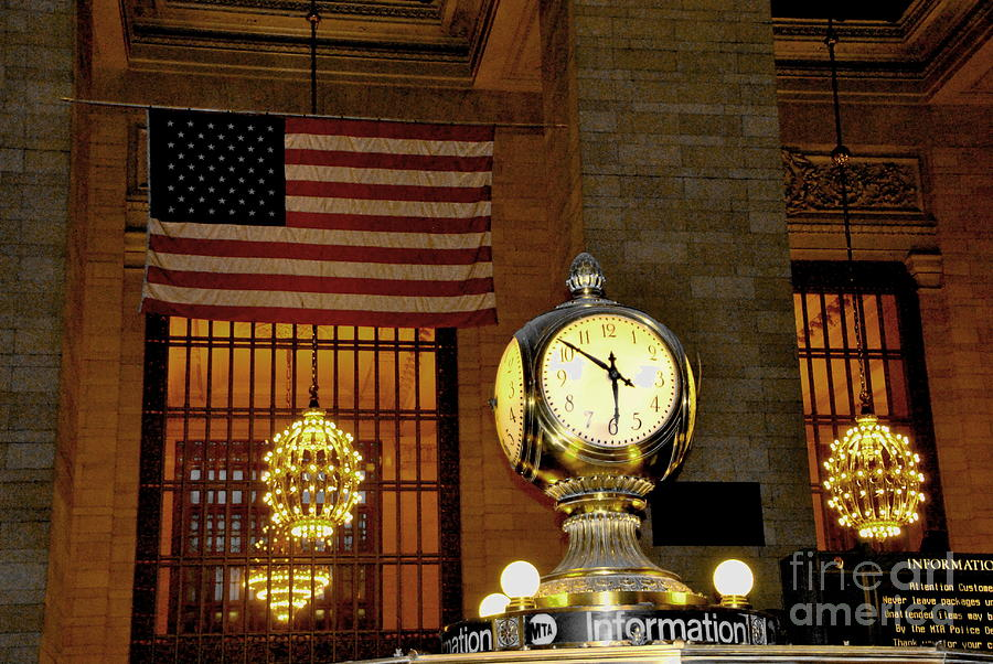 New York Photograph - Opal Atomic Clock At Grand Central by Jacqueline M Lewis