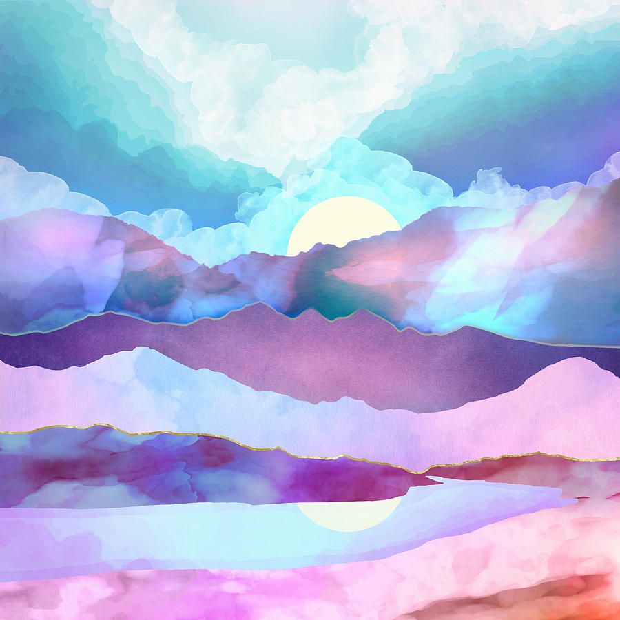 Opal Digital Art - Opal Mountains by Spacefrog Designs