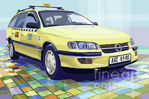 Taxi Digital Art - Opel Omega A Caravan Prague Taxi by Yuriy  Shevchuk
