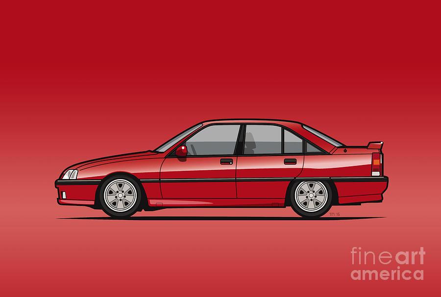 Car Digital Art - Opel Omega A, Vauxhall Carlton 3000 Gsi 24v Red by Monkey Crisis On Mars