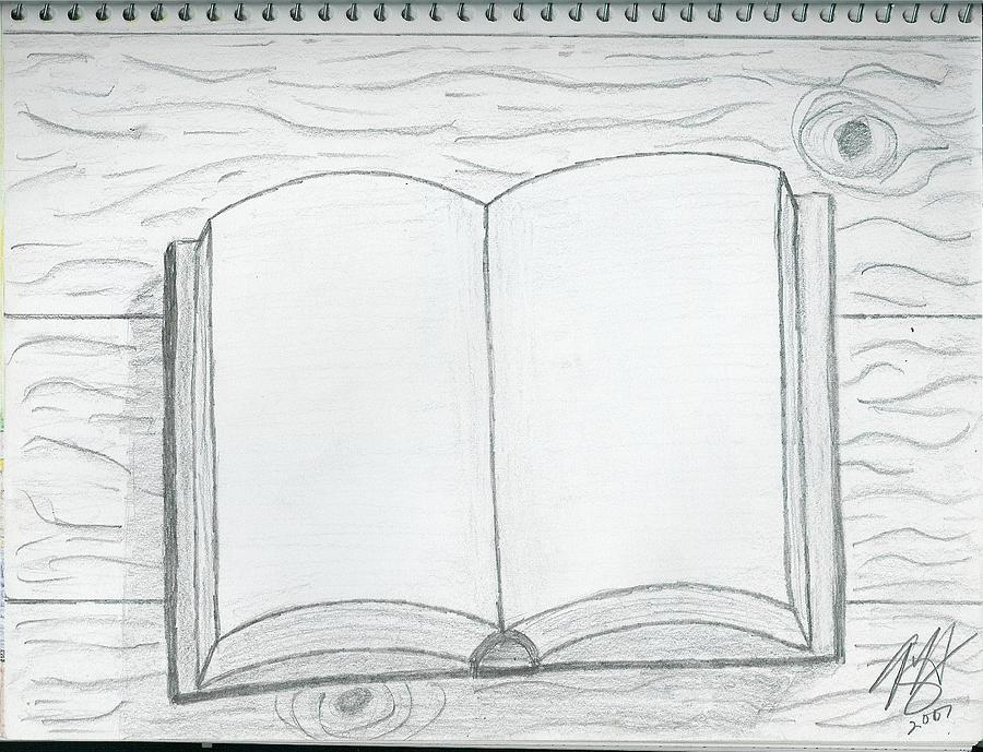 Open Book Drawing by Theodore Hughes