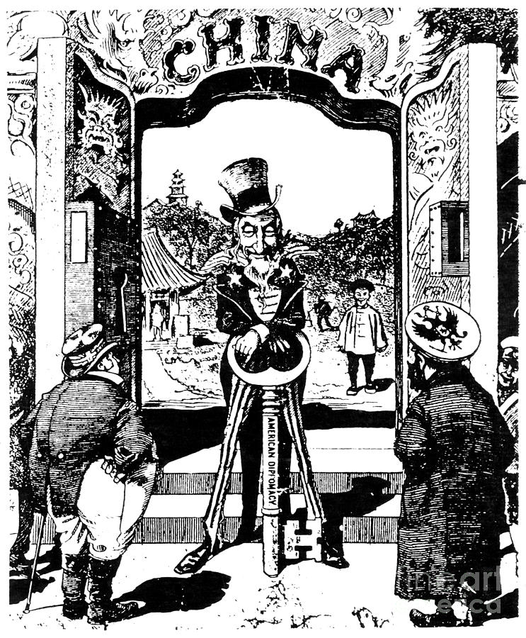 Lovely 1900 Photograph   Open Door Cartoon, 1900 By Granger