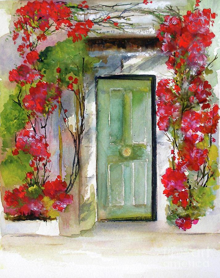 Green Door Painting - Open Door by Sibby S