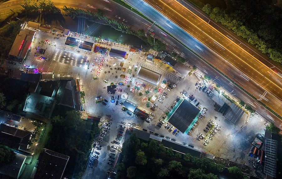 Open food stalls aerial view, Bangkok by Pradeep Raja PRINTS