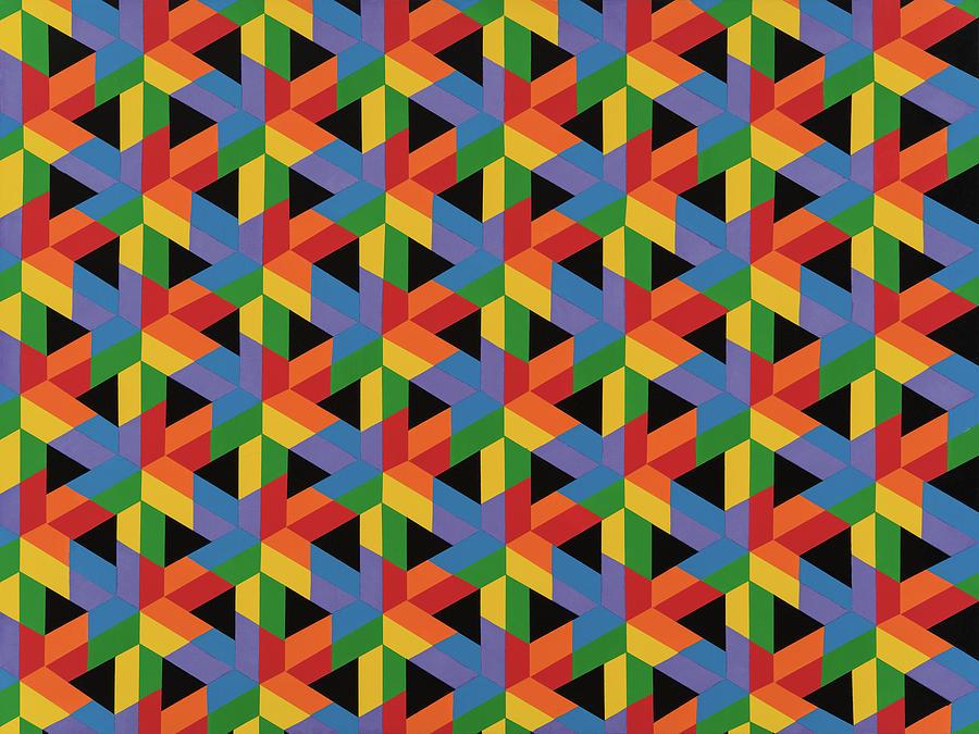 Abstract Painting - Open Hexagonal Lattice II by Janet Hansen