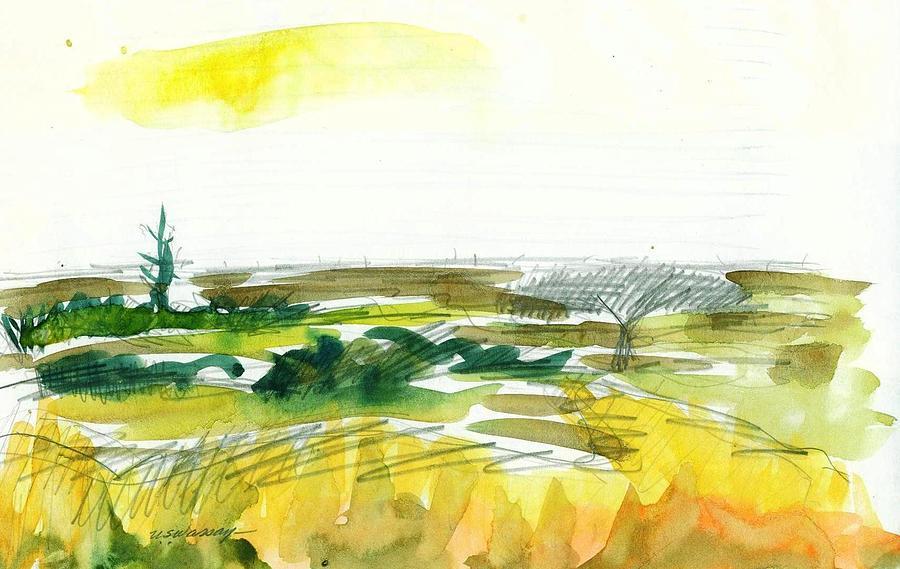 Landscape Mixed Media - Open Landscape 3 by Ujjagar Singh Wassan