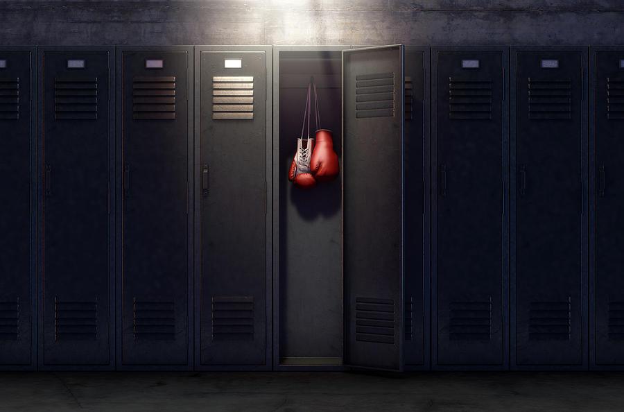 Locker Digital Art - Open Locker And Hung Up Boxing Gloves by Allan Swart