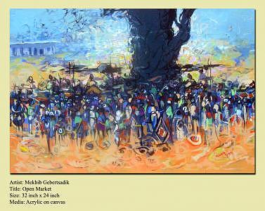 Market Painting - Open Market by Mekbib Geberstadik