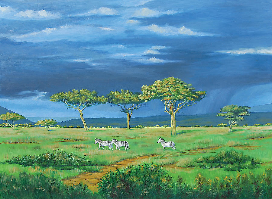 Thunder Storm Painting - Open Plains by Deon West