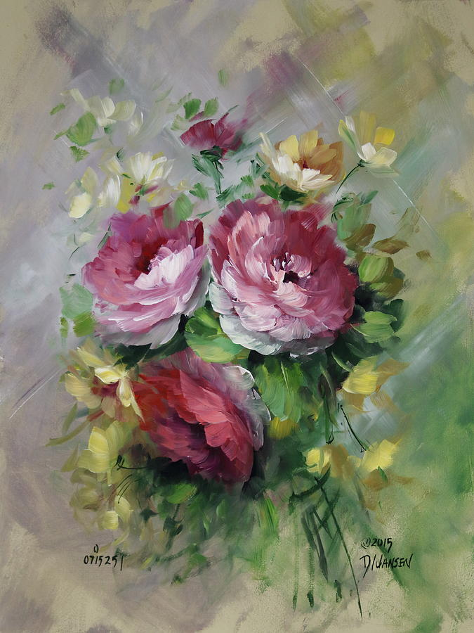 Open Roses And Yellow Blossoms Painting By David Jansen