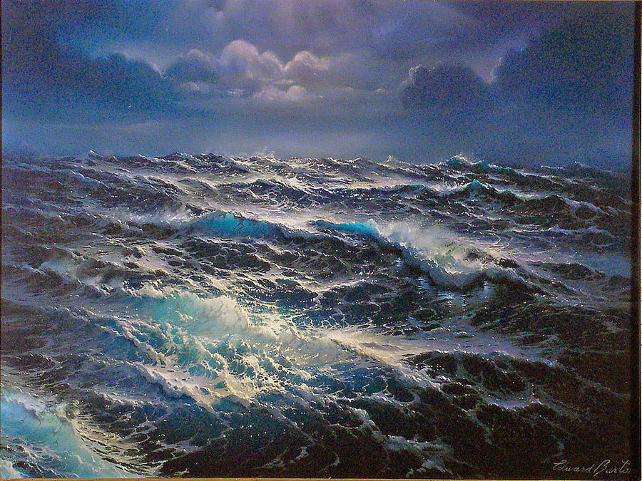 Seascape Painting - Open Sea by Edward Barton