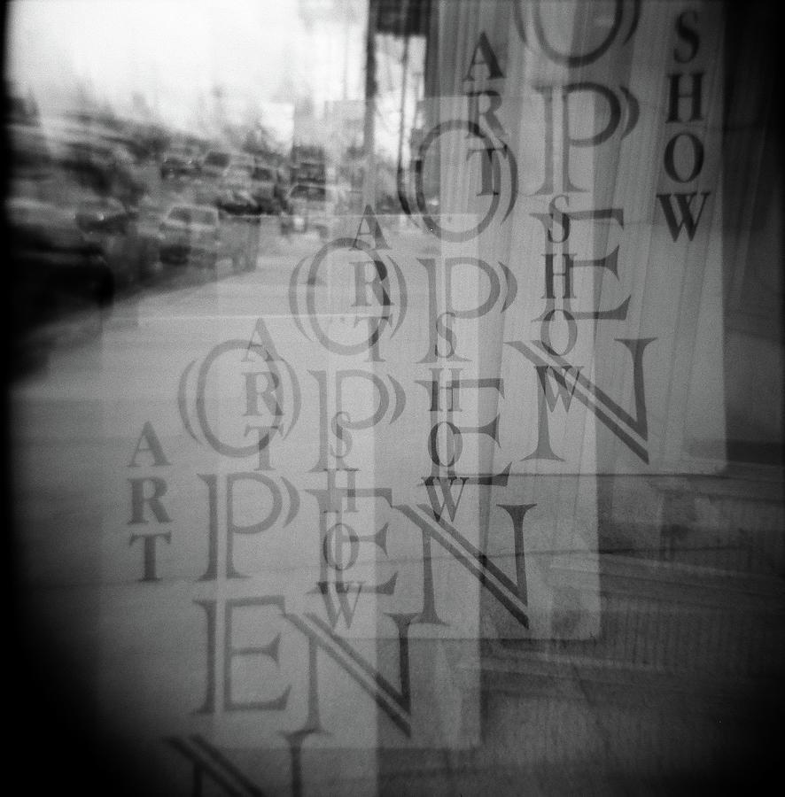Holga Photograph - Open Sign Quadruple Multiple Exposure Holga Photography by Lisa Shea