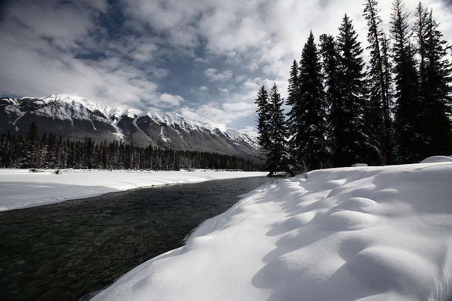 Snow Covered Digital Art - Open Water In Winter by Mark Duffy