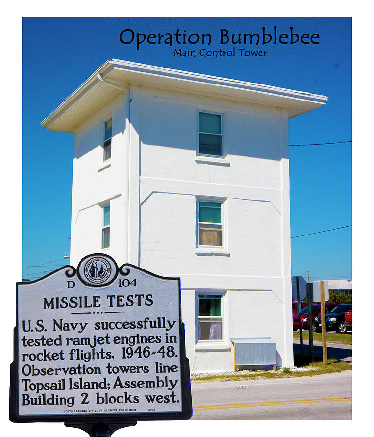Topsail Island Digital Art - Operation Bumblebee Control Tower by Betsy Knapp