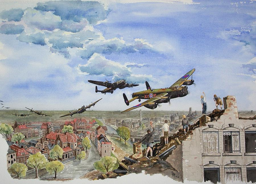 Lancaster Bomber Painting - Operation Manna I by Gale Cochran-Smith