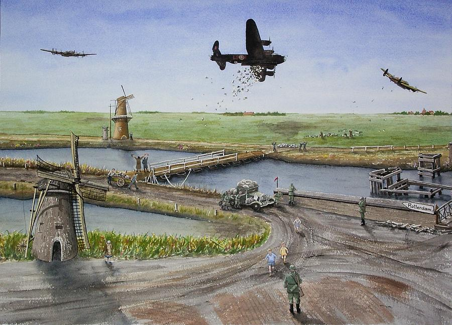 Lancaster Bomber Painting - Operation Manna IIi by Gale Cochran-Smith