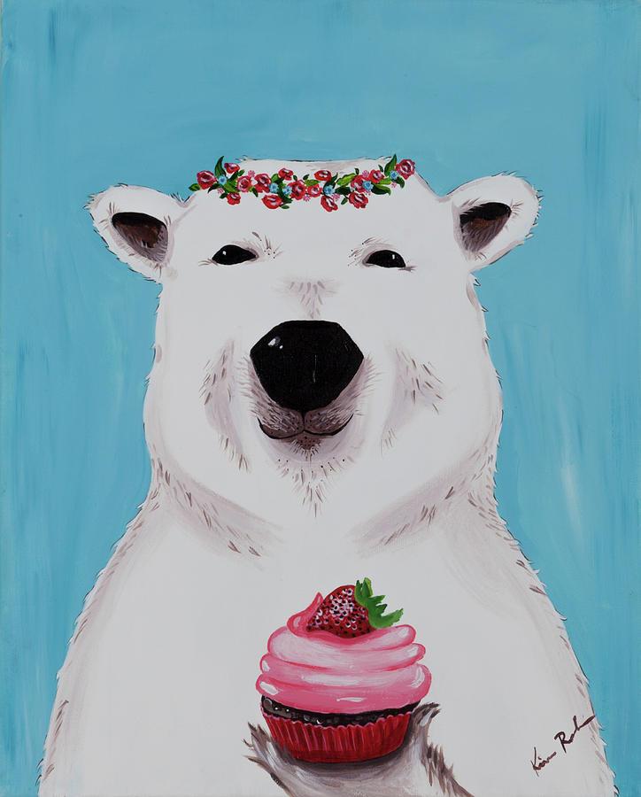 Polar Bear Painting - Ophelia The Polar Bear  by Kimberly Robinson