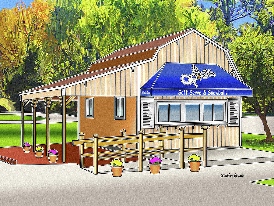 Catonsville Digital Art - Opies Snowball Stand by Stephen Younts