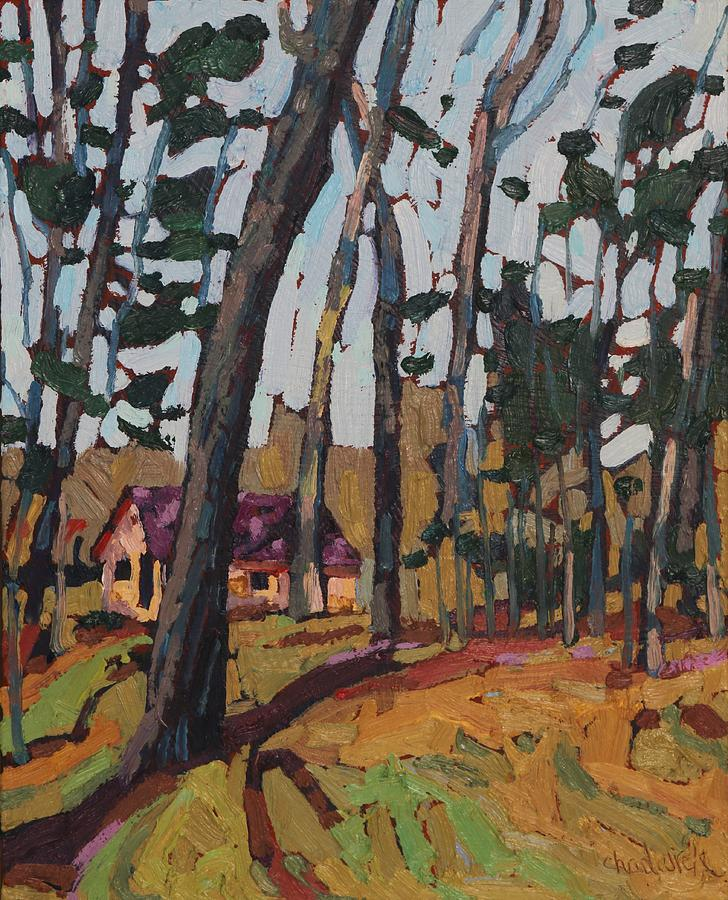 2045 Painting - Opinicon Cabin Through The Oaks by Phil Chadwick