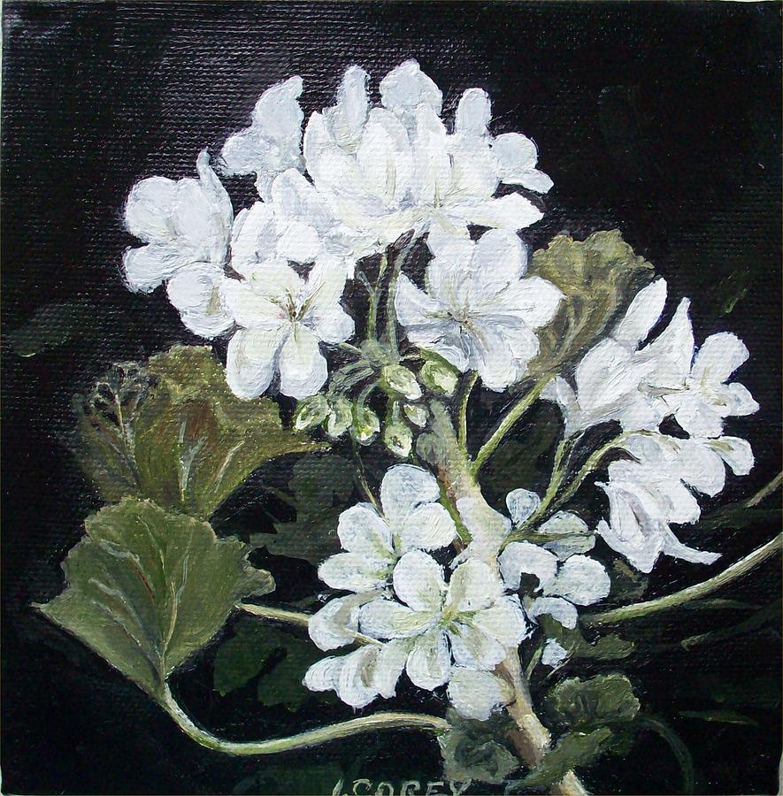 White Geranium Painting - Opposite Attraction by Irene Corey