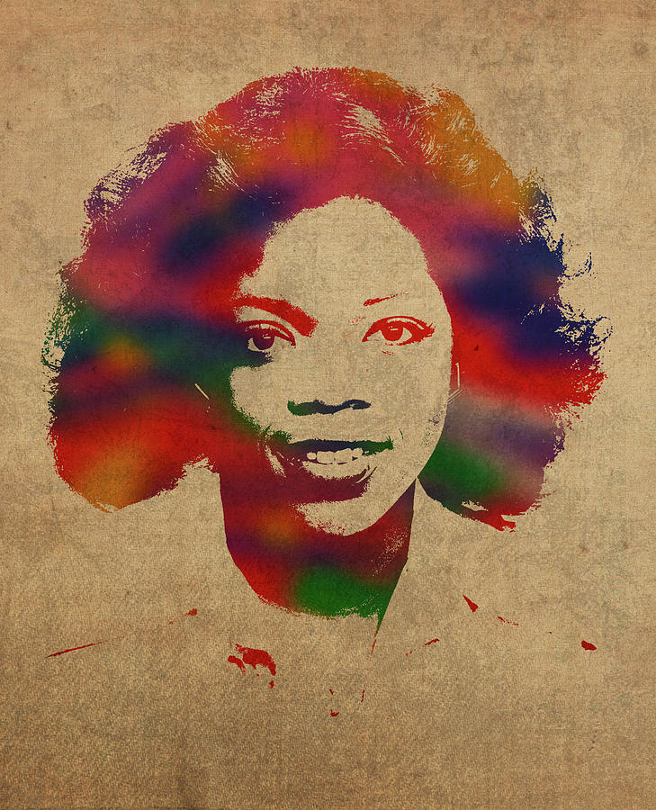 Oprah Mixed Media - Oprah Winfrey Vintage 1978 Watercolor Portrait by Design Turnpike
