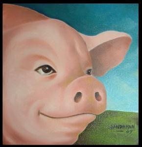 Pig Painting - Optimistic by Joselito Jandayan
