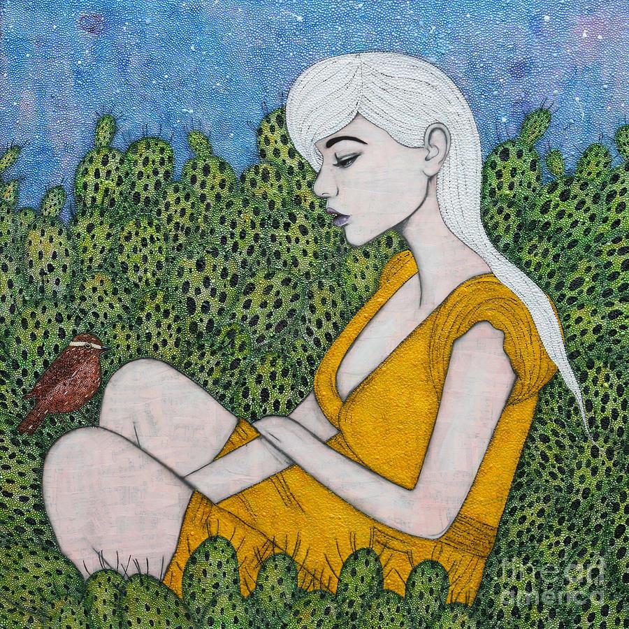 Prickly Pear Mixed Media - Opuntia by Natalie Briney
