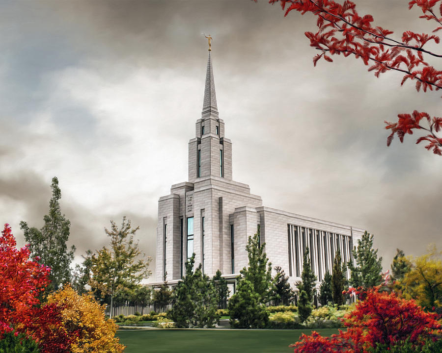 Oquirrh Painting - Oquirrh Mountain Temple by Brent Borup