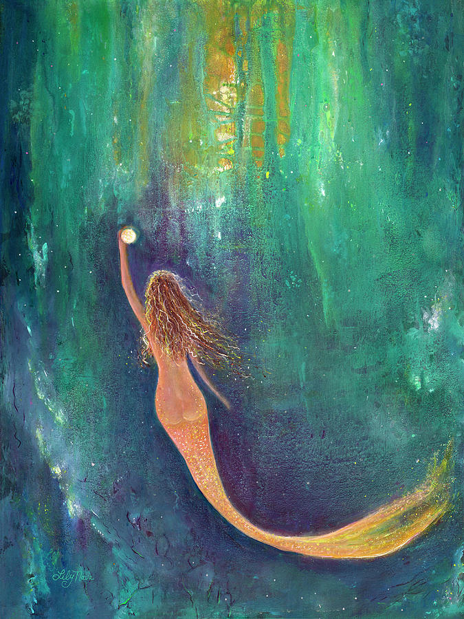 Mermaid Painting - Oracle Mermaid by Lily Nava