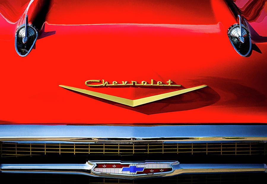 Vintage Digital Art - Orange 57 Chevy by Douglas Pittman