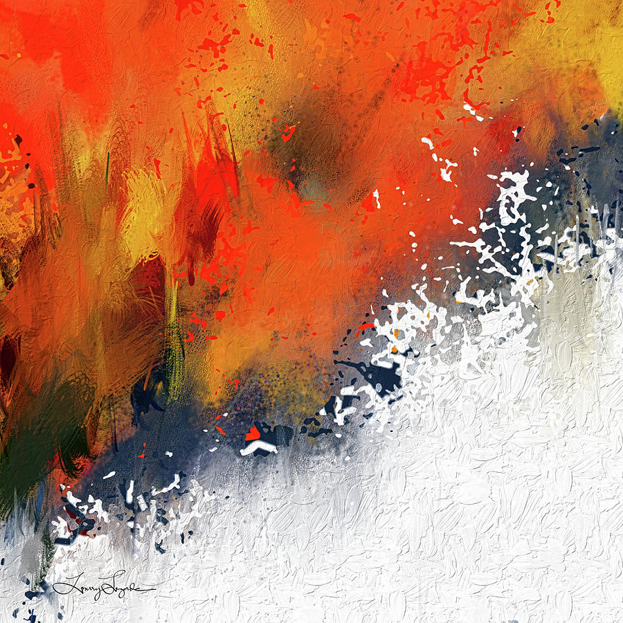 Orange And Navy Blue Painting - Splashes At Sunset - Orange Abstract Art by Lourry Legarde