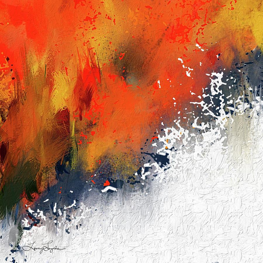 Splashes At Sunset Orange Abstract Art