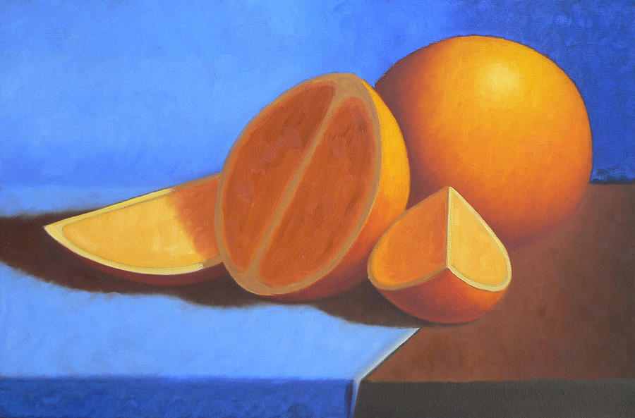 Still Life Painting - Orange And Blue by Bart  Dluhy