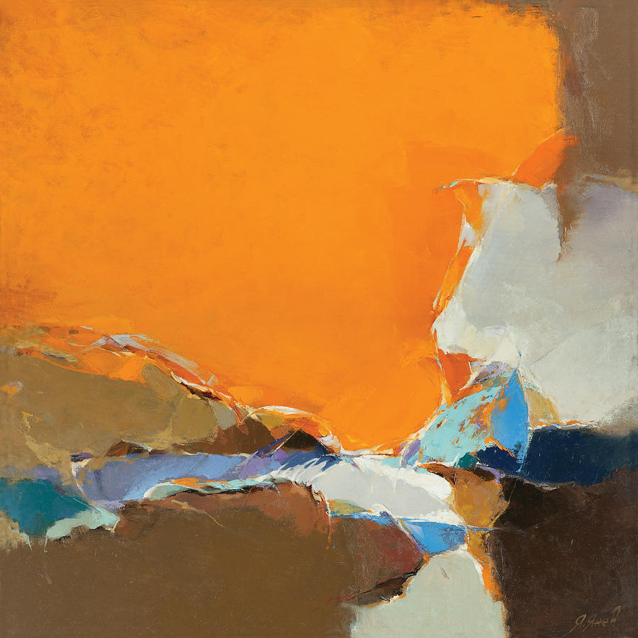 Blue Painting - Orange And Brown Composition by Yanko Yanev