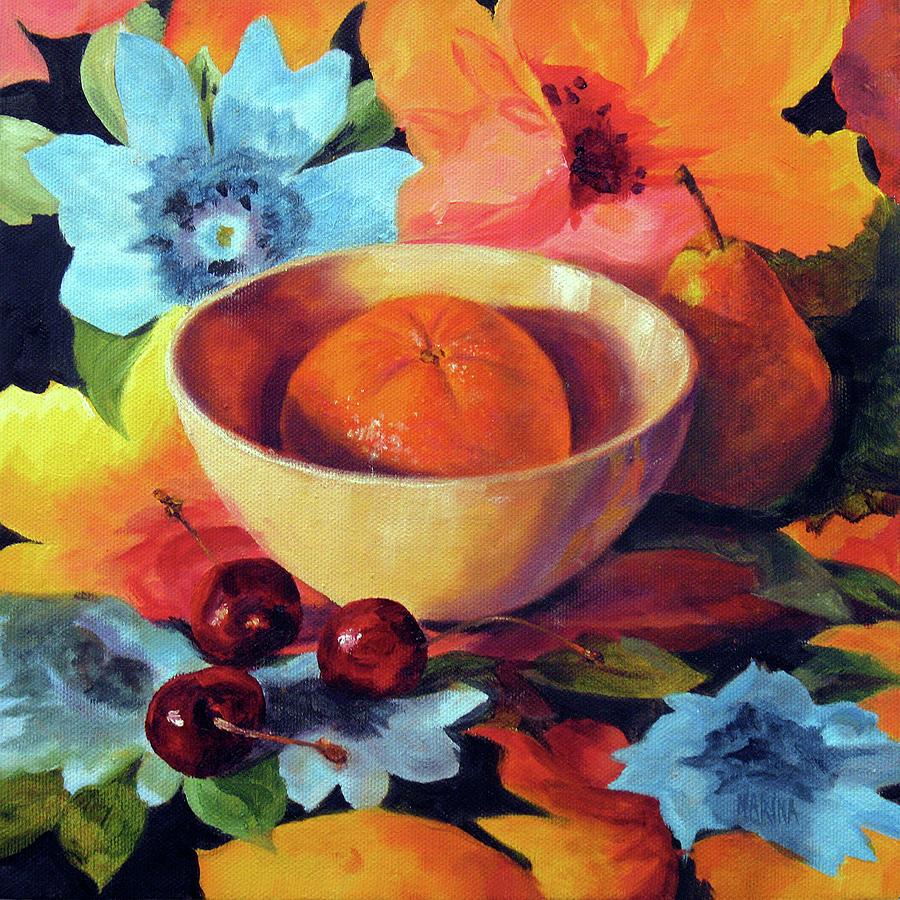 Still Life Painting - Orange And Cherries by Marina Petro