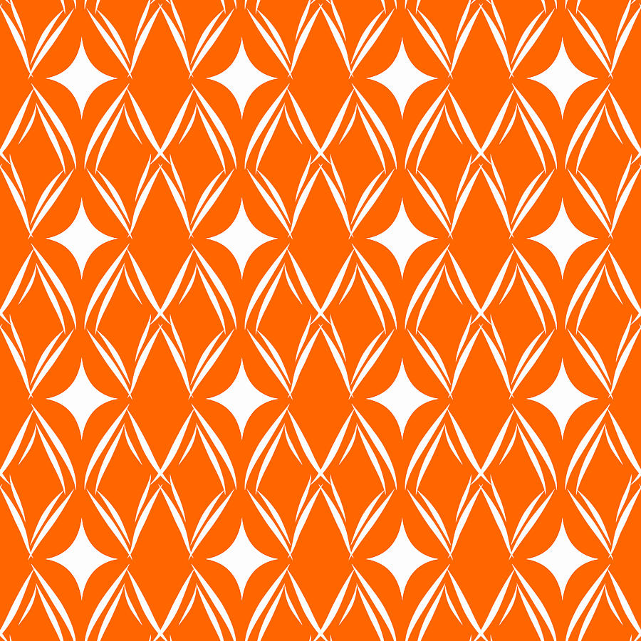 Orange And White Diamonds Mixed Media