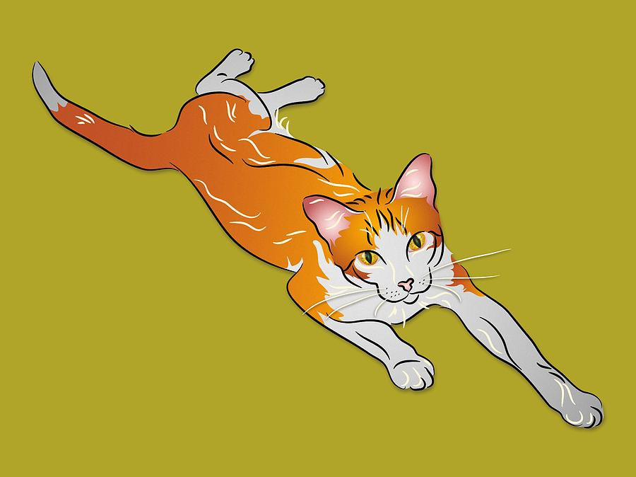 Cat Digital Art - Orange And White Tabby Cat by MM Anderson