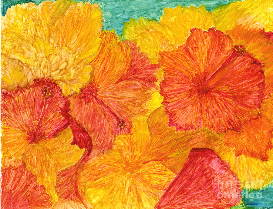 Orange and Yellow Flowers by Phyllis Brady