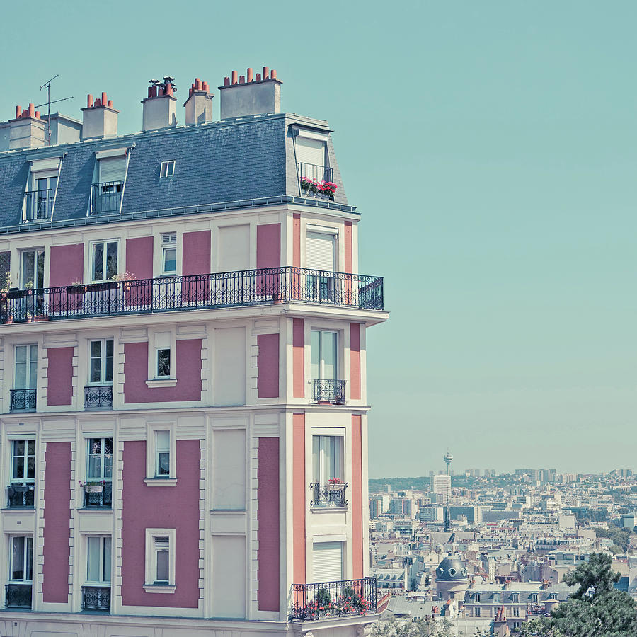 Square Photograph - Orange Apartment Building With View Over Paris by Cindy Prins