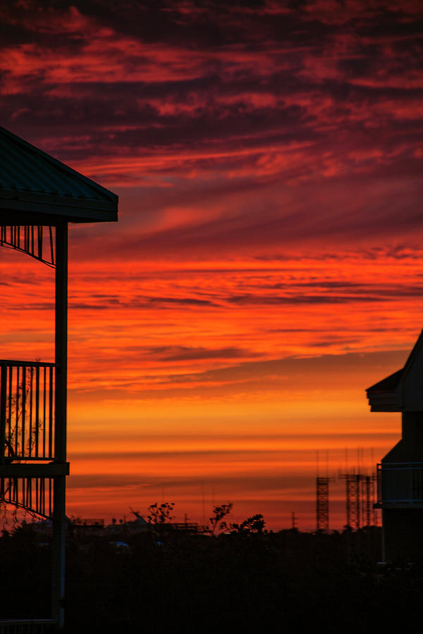 Orange Balcony Sunset by Bob Slitzan