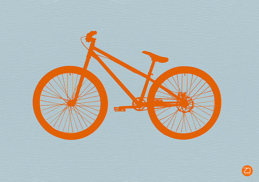 Bicycle Digital Art - Orange Bicycle  by Naxart Studio