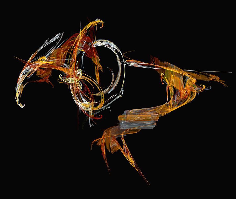 Fractal Digital Art - Orange Bird by Kevin Round