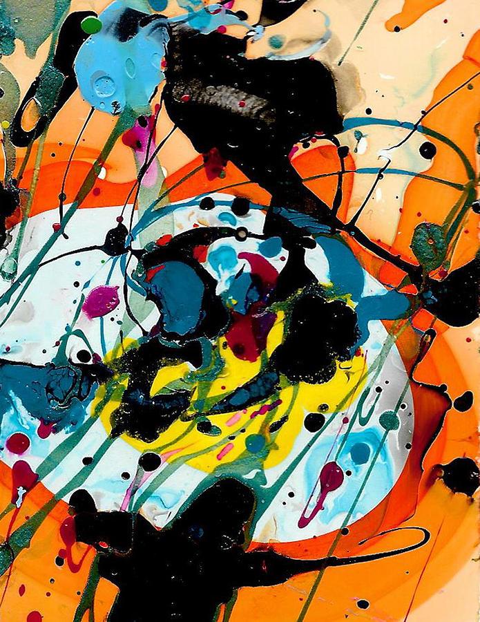 Orange Painting - Orange, Blue And Black by Rozsi Adean Moser