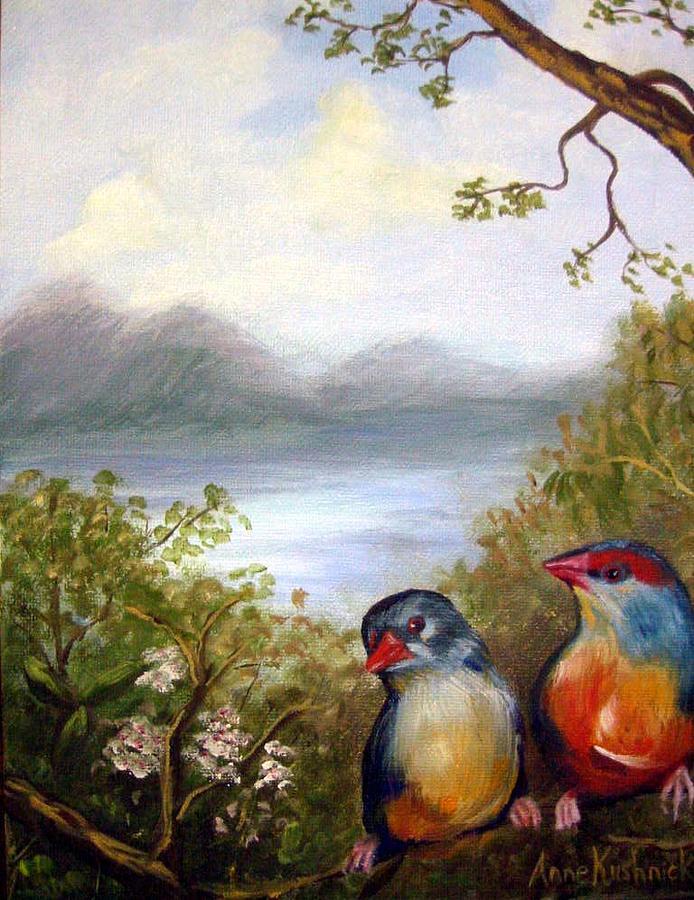Birds Painting - Orange Breasted Waxbills by Anne Kushnick
